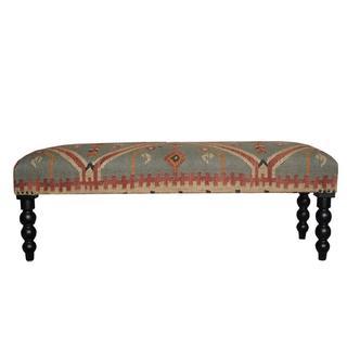 Herat Oriental Handmade Indo Kilim Upholstered Bench (India)