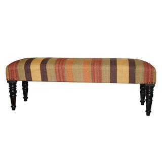 Herat Oriental Handmade Indo Kilim Beige/ Red Upholstered Bench (India)