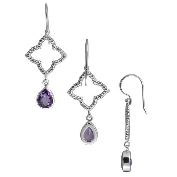 Handmade Bali Sterling Silver Trefoil Amethyst Teardrop Earrings (Indonesia)