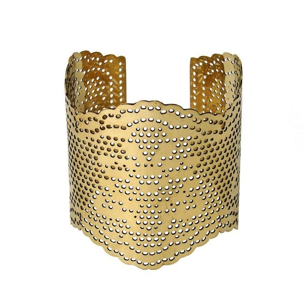 Lacey Goldtone Brass Cut-out Cuff Bracelet (India)