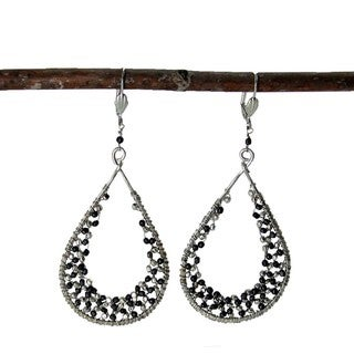 Silver Cubist Droplet Loop Earrings (India)