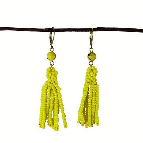 Lemon Tassel Drop Earrings (India)