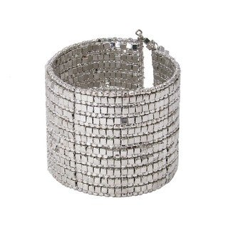 Shining Silvertone Gilded Cuff Bracelet (India)