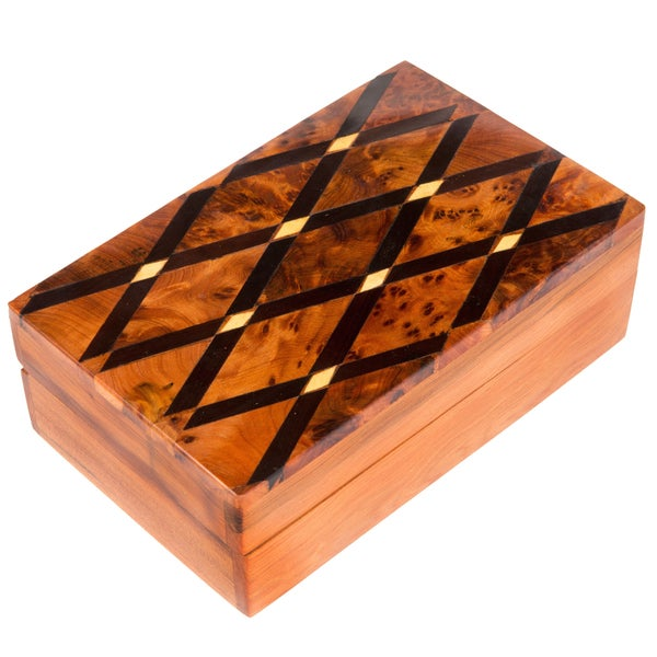 Inlaid Cross-hatch Moroccan Thuya Wood Keepsake Box (Morocco)