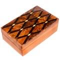 Inlaid Cross-hatch Moroccan Thuya Wood Keepsake Box (Morocco)