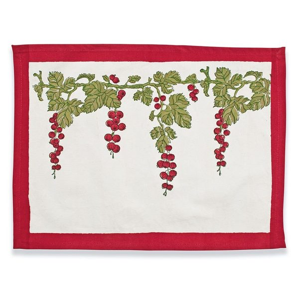 Gooseberry Red/ Green 15x18-inch Cotton Mats (Set of 6)