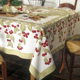 Cherry Red/ Green Round Cotton Tablecloth