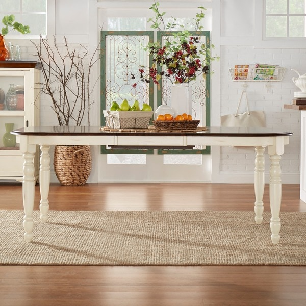 TRIBECCA HOME Mackenzie Country Antique White Dining Table