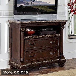 Roxbury Faux Marble Top 2-drawer Wood TV Chest