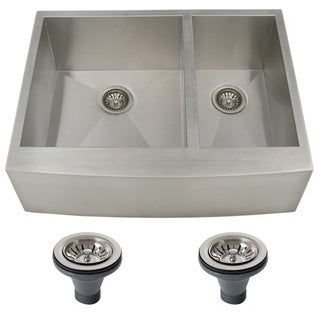 Ticor 4409BG-DEL 30-inch 16-gauge Stainless Steel Curved Front Double Bowl Undermount Apron Kitchen Sink