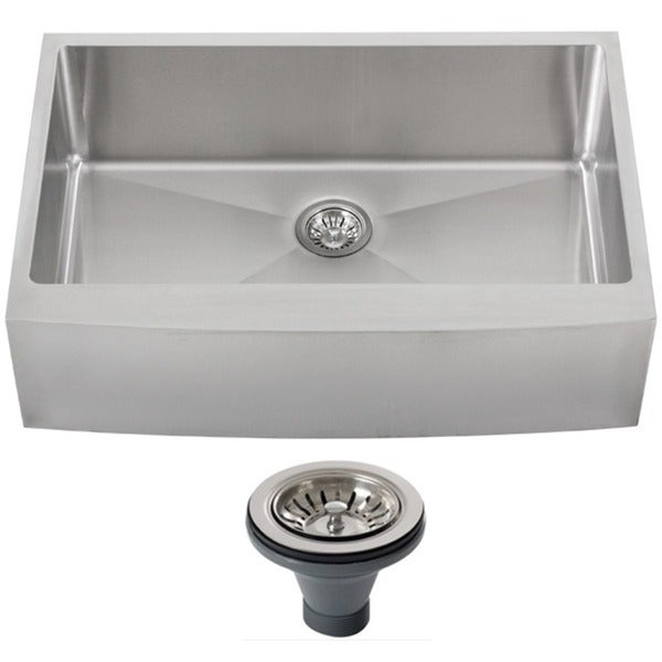 33 Inch Apron Front Sink : Ticor 4413BG-DEL 33-inch 16-gauge Stainless Steel Curved Front Single ...