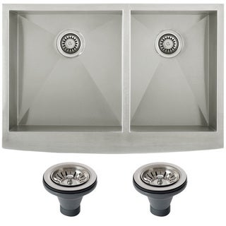 Ticor 4401BG-DEL 33-inch 16-gauge Stainless Steel Curved Front Double Bowl Undermount Apron Kitchen Sink