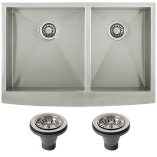 Ticor 4401BG-DEL Stainless Steel Curved Front Double Bowl Kitchen Sink