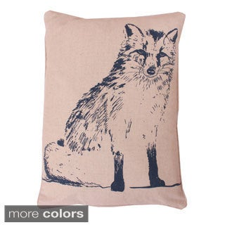 Fox Beaded Woodland Feather Filled Throw Pillow