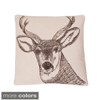 Deer Beaded 20-inch Woodland Feather Filled Throw Pillow