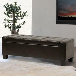 Baxton Studio Biondello Dark Brown Leather Storage Ottoman