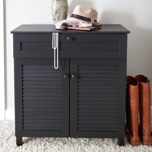Baxton Studio Ellis Espresso Wood Shoe Cabinet