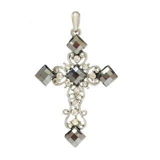 Bleek2Sheek Victorian Hematite Crystal and Rhinestone Cross Pendant