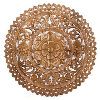 Hand-carved Round Brown Stain Lotus Panel Inlay Wall Decor (Thailand)