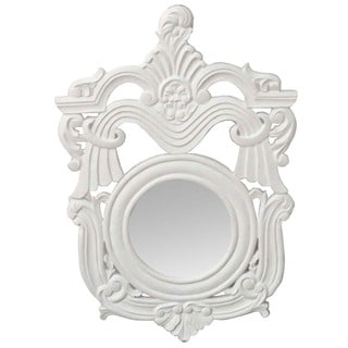 Hand-chiseled White Decorative Wall Mirror (India)