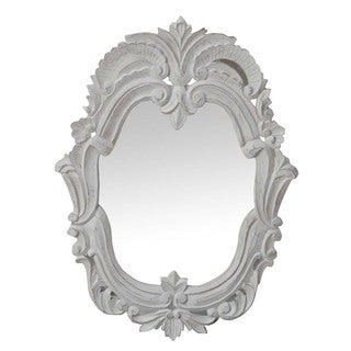 Hand-chiseled Antique White Decorative Wall Mirror (India)