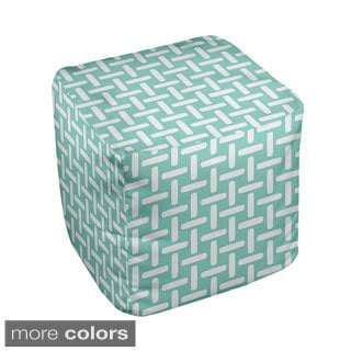18 x 18-inch Two-tone Large Basket Weave Print Decorative Pouf