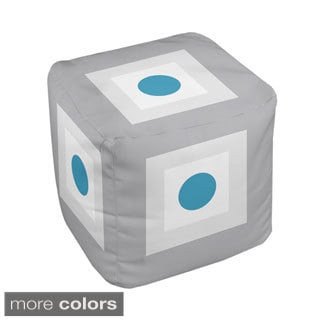 18 x 18-inch Square and Dot Print Geometric Decorative Pouf
