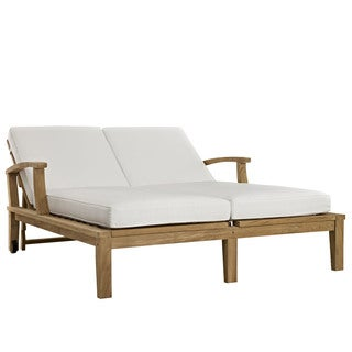 Pier Adjustable Outdoor Patio Teak Double Chaise