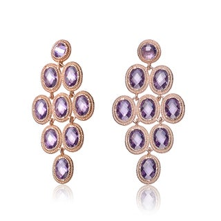 Collette Z Rose-plated Sterling Silver Purple Cubic Zirconia Chandelier Earrings