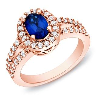 Auriya 14k Rose Gold 3/5ct TDW Sapphire and Diamond Engagement Ring (H-I, SI1-SI2)