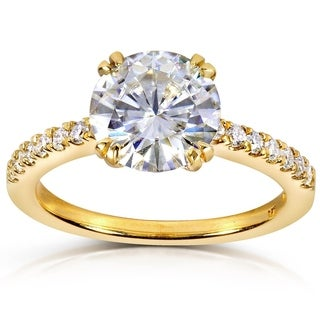 Annello 14k Yellow Gold Round-cut Moissanite and 1/5ct TDW Diamond Engagement Ring (G-H, I1-I2)