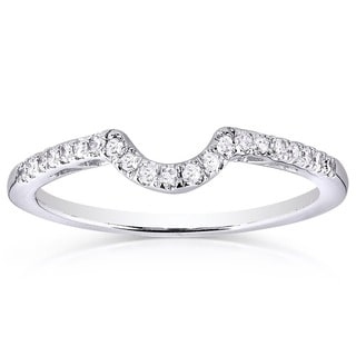 Annello 10k White Gold 1/6ct TDW Curved Diamond Wedding Band (H-I, I1-I2)