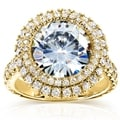 Annello 14k Yellow Gold Round-cut Moissanite and 1 1/10ct TDW Double Halo Diamond Ring (G-H, I1-I2)