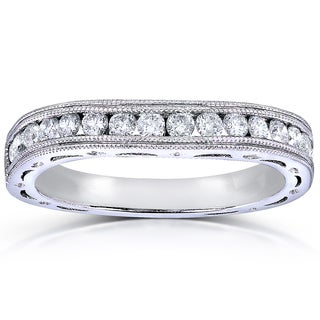 Annello 14k White Gold 2/5ct TDW Channel Set Curved Diamond Wedding Band (G-H, I1-I2)