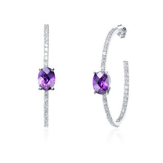 Collette Z Sterling Silver Purple and White Cubic Zirconia Hoop Earrings