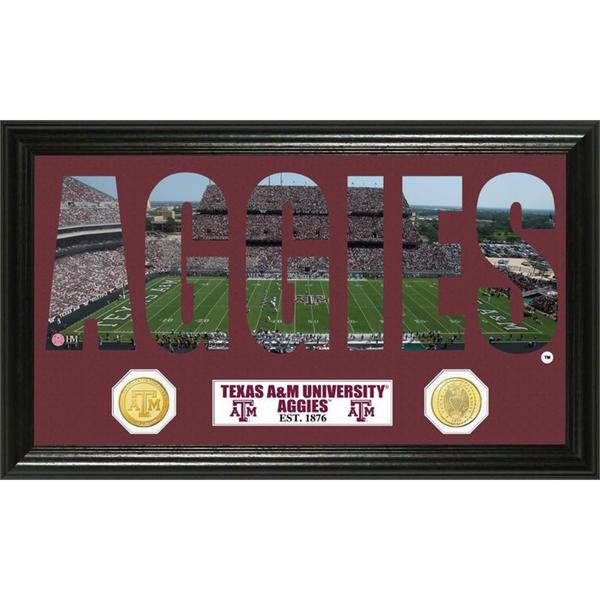 Texas A&M University Word Art Panoramic Photo Bronze Mint Coin