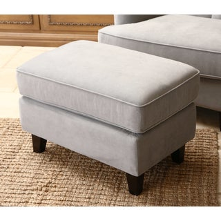 Abbyson Living Claridge Steel Blue Velvet Fabric Ottoman
