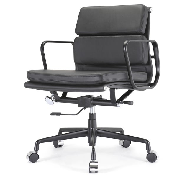 Tre Black Italian Leather Office Chair