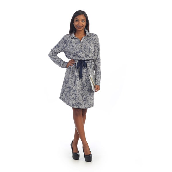 Hadari's Women's Navy Paisley String-tie Dress