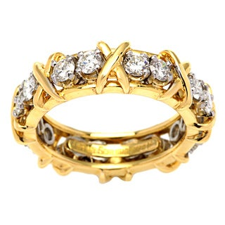 Pre-owned Tiffany & Co. E1669-ASSX 18k Yellow Gold and Platinum 1 1/6ct TDW Diamond Eternity Estate Band (F-G, VS)