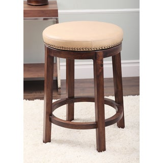 Monica Pedersen Camel Swivel Leather Counter Stool by Abbyson Living