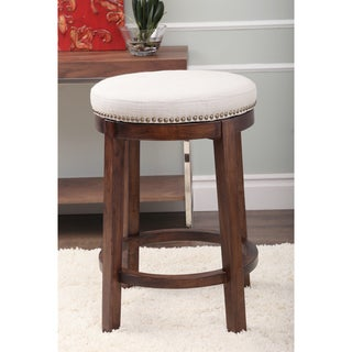 ABBYSON LIVING Monica Pedersen Grey Swivel Linen Counter Stool by