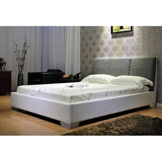 Two-tone White and Grey Platform Bed