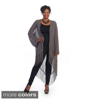 Hadari Women's Plus Size Fringe Sheer Cardigan