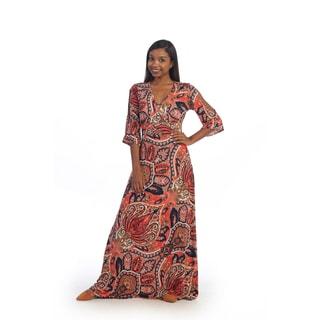 Hadari Women's Red Paisley Maxi Dress