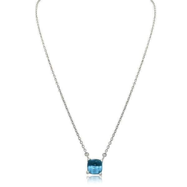 Gioelli Sterling Silver Gemstone Dew Drop Pendant Chain Necklace