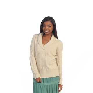 Hadari Women's Beige Knit Sweater Top