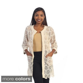 Hadari Women's Contemporary Floral Crotchet Open Cardigan