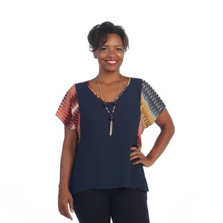 Hadari Women's Plus Size Navy Necklace Chevron Sleeve Top