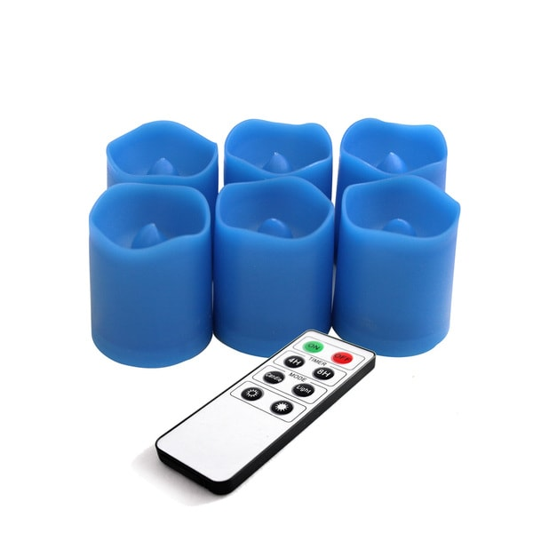 EcoGecko Remote Control Blue Flameless LED Candle (Set of 6)
